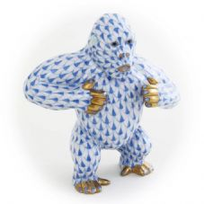 Herend Porcelain Fishnet Figurine of a Gorilla Pounding His Chest